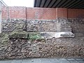 Roman Baths, protecting brick wall and undersides in Flórián Square underpass, 2016 Budapest.jpg