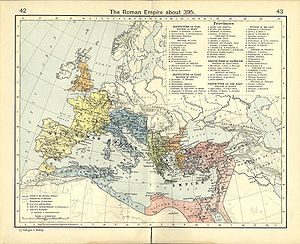 Map of the Roman empire, c. 395, showing the dioceses and the praetorian prefectures of Gaul, Italy, Illyricum and Oriens, roughly analogous to the four Tetrarchs' zones of influence after Diocletian's reforms. However, in 395, the western part of the Praetorian prefecture of Illyricum was attached to the Praetorian prefecture of Italy. This map shows only eastern part of Illyricum, though in the time of Tetrachy the Illyricum was not divided.