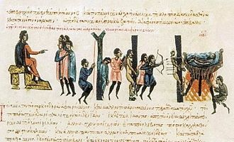 Droungarios of the Fleet - The droungarios of the Fleet Niketas Ooryphas punishes the Cretan Saracens, as depicted in the Madrid Skylitzes.