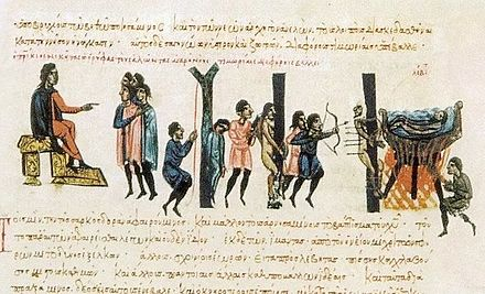 A 12th-century Byzantine manuscript illumination depicting Romans punishing Cretan Saracens.