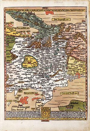"Erhard Etzlaub - ""Romweg"" map, 1500. ""South-up"" display, as all of Etzlaub's maps."