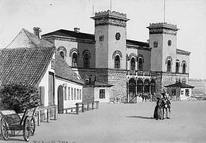 Roskilde station - Roskilde station in 1849 with the loggia still intact