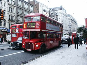 London Buses route 11 - London General AEC Routemaster on The Strand in January 2003