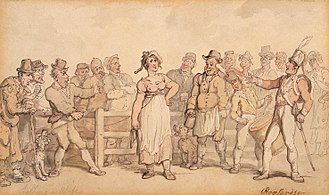 """Wife selling (English custom) - Selling a Wife (1812–14), by Thomas Rowlandson. The painting gives the viewer the impression that the wife was a willing party to the sale, which was """"a genial affair"""" marked by laughter."""