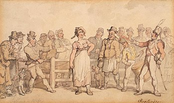 A  colour illustration of a market scene. A woman is attached to one of 13 men, who stand on either side of a wooden fence, looking at her with various expressions of glee on their faces. A drummer boy, in military costume, beats a large drum. Two dogs stand in the dirt. One of the men holds what appears to be a mug of ale. The woman stands proudly, one arm bent toward her waist, and has a smirk on her face. To the extreme right, in the back of the scene, another woman appears shocked by the drama before her.
