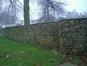Listed buildings in Sheffield S11 - Image: Rubble Boundary Wall at Banner Cross Hall