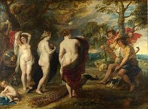"""""""בחירתו של פאריס"""", ציור מאת פטר פאול רובנס, בערך 1636; הציור מתאר את התלבטותו של פאריס בשאלה מי האלה היפה ביותר. בתחתית הציור ניתן לראות טווס, אחד מסמליה הבולטים של הרה."""