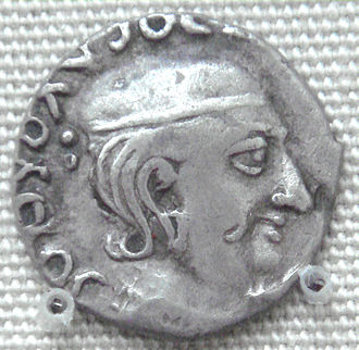 Rudradaman I - Rudradaman I coin, with corrupted Greek legend. British Museum.