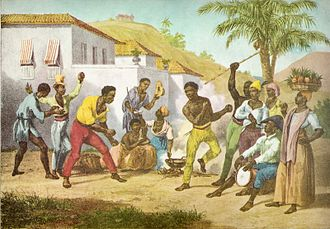Palmares (quilombo) - Capoeira or the Dance of War by Johann Moritz Rugendas (1825).