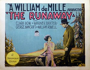 The Runaway (1926 film) - Lobby card