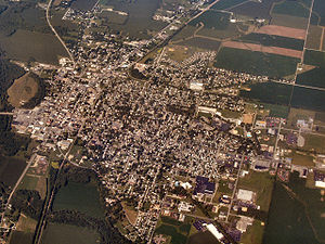 Rushville, Indiana - Rushville from the air, looking west.
