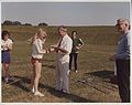 Ruth Algar, a national sprint champion, receiving a medal from the Director of NCPE, Dr. James Oliver c.1976 (9423079090).jpg