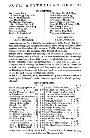 Holy Trinity Church, Adelaide - South Australian Church Notice 1836
