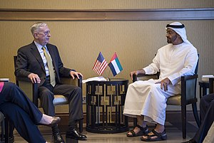 Mohammed bin Zayed Al Nahyan - Al-Nahyan with U.S. Secretary of Defense James Mattis, Abu Dhabi, February 2017