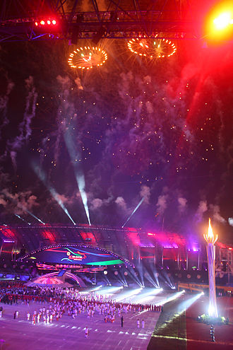 Sport in Indonesia - SEA Games 2011 opening ceremony in Palembang, South Sumatra.