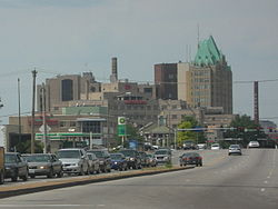 The skyline of the Tiffany Neighborhood from South Grand Blvd.