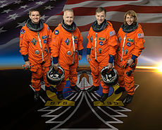 Official photo of STS-135 crew members, taken in February 2011. From left to right: Rex Walheim, Doug Hurley, Chris Ferguson, Sandy Magnus. Image: NASA / Robert Markowitz.