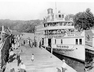 Port Carling - SS Sagamo at Port Carling locks, 1935