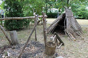 Sainte Marie among the Iroquois - Reed hut encampment.