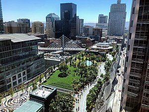 Salesforce Park and bus bridge, seen from Salesforce Tower