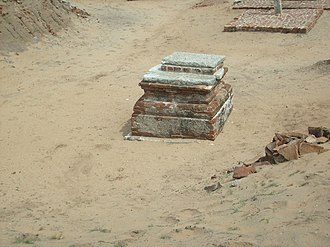 Murugan Temple, Saluvankuppam - Potsherds and granite slabs unearthed at the excavation site. Some of the potsherds have been dated to the Sangam period