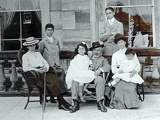Sammy Marks - Marks and his family on a visit to England c1903. From left to right are Girlie 1889, Joe 1892, Dolly 1897, Sammy, Louis 1885, Bertha and Phil 1900. Ted 1894 is absent