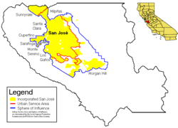 Location of San Jose within Santa Clara County, California