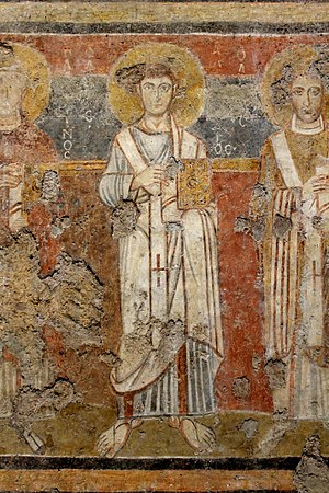 Pope Alexander I - Eighth-century fresco of Pope Alexander from the Church of Santa Maria Antiqua in the Roman Forum.