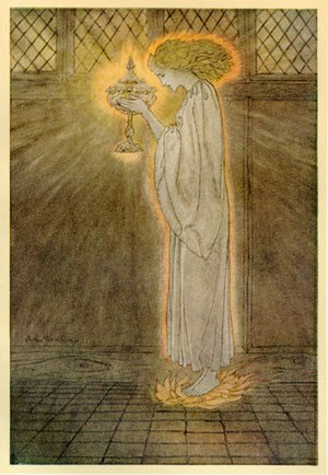 Holy Grail - How at the Castle of Corbin a Maiden Bare in the Sangreal and Foretold the Achievements of Galahad: illustration by Arthur Rackham, 1917