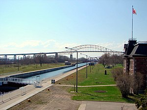 Sault Ste. Marie Canal - The Sault Ste. Marie Canal National Historic Site, with the Sault Ste. Marie International Bridge in the background.