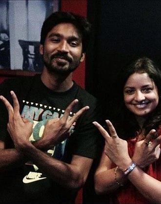 Savitha Reddy - Savitha with Dhanush on Velaiyilla Pattathari dubbing