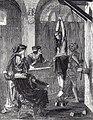 Grabado mostrando una mujer tomada por los brazos, con pesos atados a los tobillos; tres jueces están delante de ella y la interrogan.