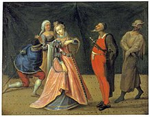 [Artist Unknown]. Scene From The Commedia dell' Arte. 17th Century. Oil on wood panel. (64x75cm). Drottningholms Teatermuseum, Stockholm.