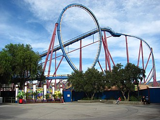 Scream (roller coaster) - Scream's lift hill and vertical loop, as seen from the ride's entrance plaza