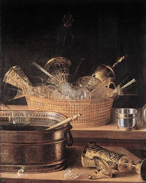 File:Sebastian Stoskopff, Metallgefässe und Gläser in einem Korb.jpg