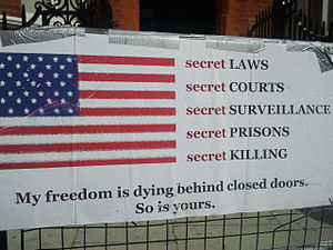 WikiLeaks - Placard in front of Embassy of Ecuador, London, 22 August 2012
