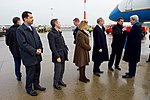 Secretary Kerry is Greeted by a German Official Upon Arrival in Hamburg (30678702353).jpg