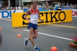 2011 World Championships in Athletics – Men's 50 kilometres walk - Sergey Bakulin during the 50K racewalk at Daegu
