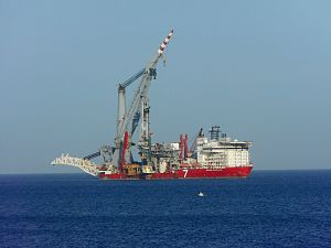 Subsea 7 - Seven Borealis pipelay and heavy lift vessel at anchor off Limassol, Cyprus.