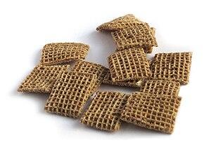 Close-up photograph of Shreddies breakfast cer...