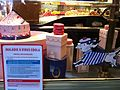 Sign in bakery at Paris airport providing information about Ebola, 17 August 2014.jpg