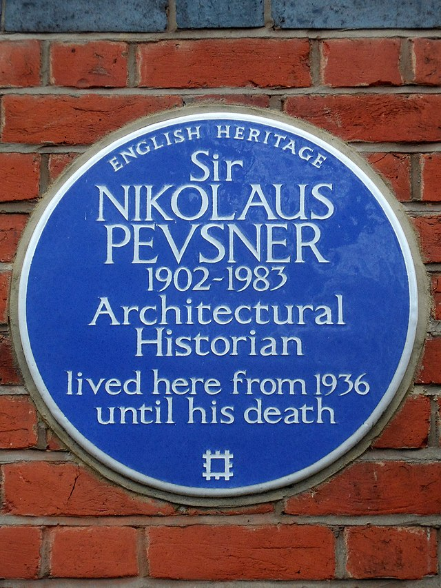 Nikolaus Pevsner blue plaque - Sir Nikolaus Pevsner 1902-1983 Architectural historian lived here from 1936 until his death