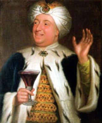 """West Wycombe Park - Sir Francis Dashwood, 2nd Baronet (1708–1781), notorious """"bon vivant"""" and builder of West Wycombe, dressed in his """"Ottoman"""" dining club garb."""