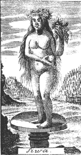Živa (mythology) - Šiwa. Westphalen's book print, 1740.