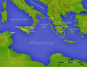 Sicilian Expedition - The route the Athenian fleet took to Sicily.