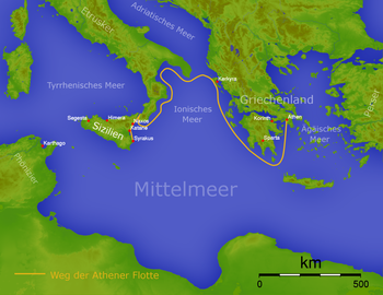 Sicilian Expedition Wikipedia - Map of the distance between athens sparta and the us