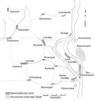 Chortitza Colony -  Khortytsia map