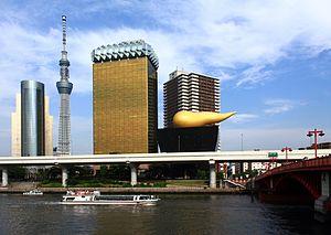 Skytree & Asahi Breweries Building, from Azumabashi, Asakusa Ⅳ.JPG