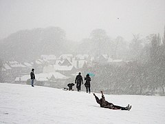 Sledging in the snow in Abbey Fields, Kenilworth (geograph 2201897).jpg
