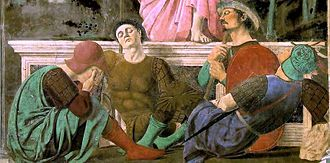 The Resurrection (Piero della Francesca) - Note the impossible pose of the guard holding a spear. To achieve a more harmonious composition, Piero left the soldier without legs.